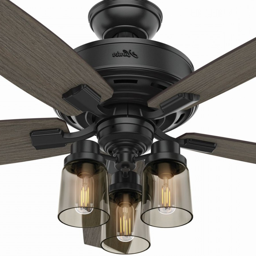 Hunter 54189 Bennett 3 Led Light 52 Inch Ceiling Fans In Matte Black With 5  Grey Walnut Blade And Smoked Glass In Famous Bennett 5 Blade Led Ceiling Fans With Remote (Gallery 5 of 20)