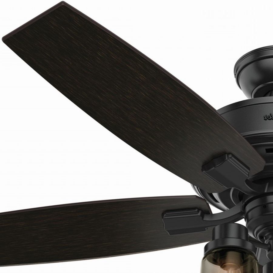 Hunter 54189 Bennett 3 Led Light 52 Inch Ceiling Fans In Matte Black With 5  Grey Walnut Blade And Smoked Glass In Well Liked Bennett 5 Blade Led Ceiling Fans With Remote (Gallery 17 of 20)