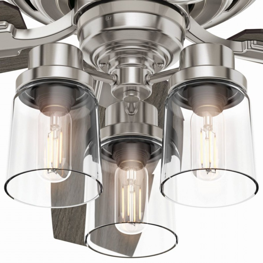 Hunter 54190 Bennett 3 Led Light 52 Inch Ceiling Fans In Brushed Nickel  With 5 Grey Walnut Blade And Clear Glass With Regard To Famous Bennett 5 Blade Ceiling Fans With Remote (View 12 of 20)