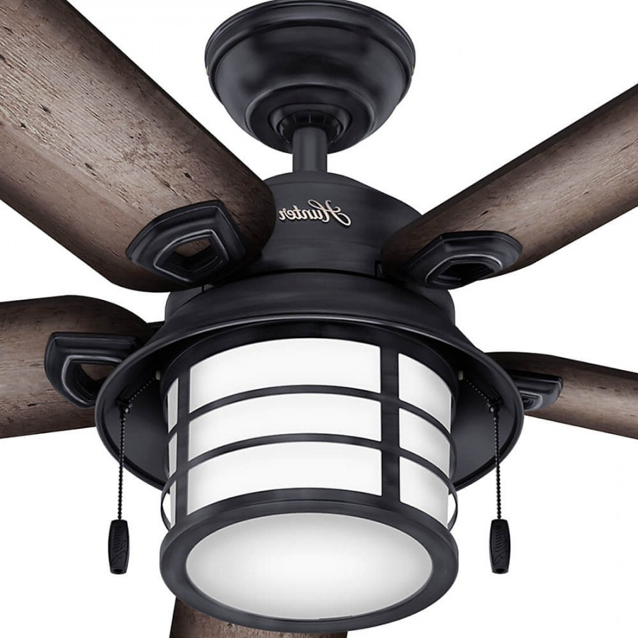 Hunter 59135 Key Biscayne 2 Light 54 Inch Outdoor Ceiling Fan In Weathered Zinc With 5 Burnished Grey Pine Blade And Cased White Glass Regarding Fashionable Key Biscayne 5 Blade Outdoor Ceiling Fans (View 3 of 20)