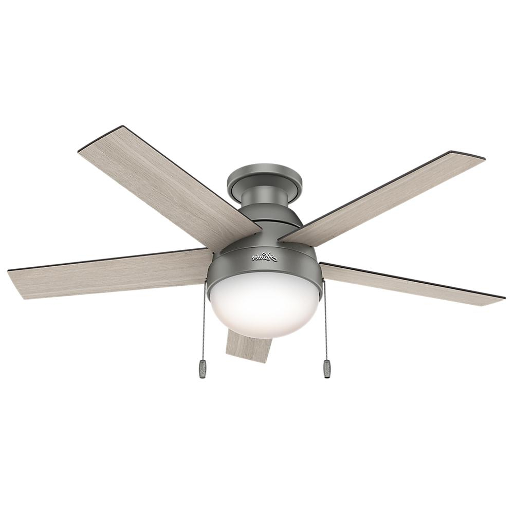 Hunter Anslee 46 In. Indoor Low Profile Matte Silver Ceiling Fan With Light Inside Latest Low Profile Iv 5 Blade Ceiling Fans (Gallery 15 of 20)