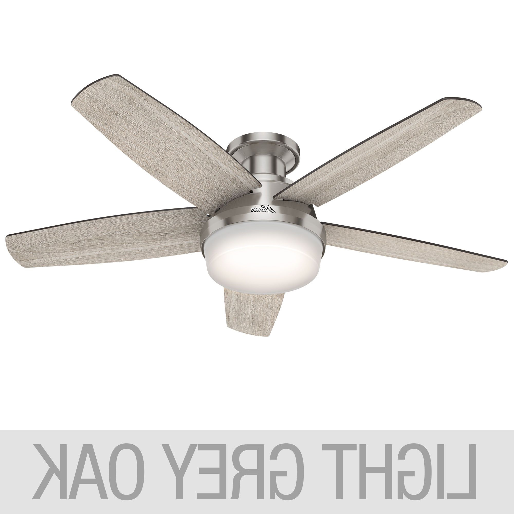 Hunter Avia Low Profile Led 48 Within Trendy Builder Low Profile 5 Blade Ceiling Fans (View 7 of 20)