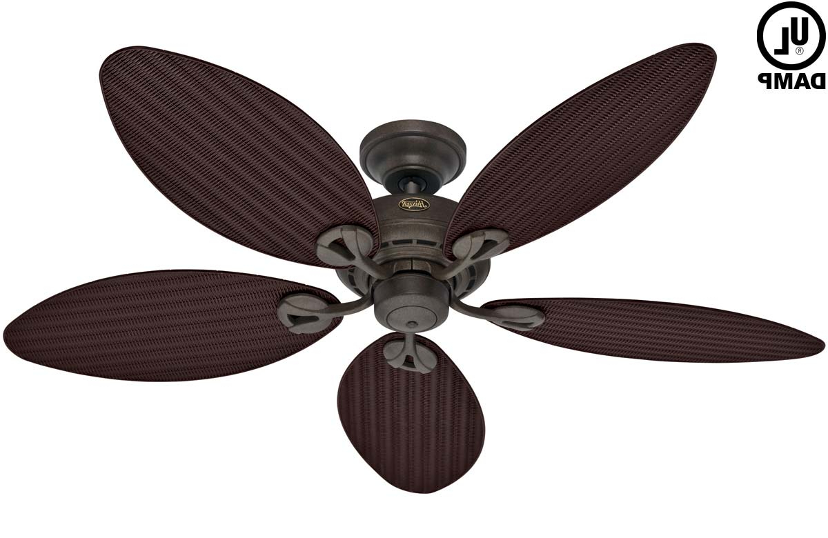 "Hunter Bayview 54"" Outdoor Damp Ceiling Fan – Provencal Gold With Antique  Dark Wicker/antique Dark Palm Leaf Blades (54098) For Newest Bayview 5 Blade Ceiling Fans (View 13 of 20)"