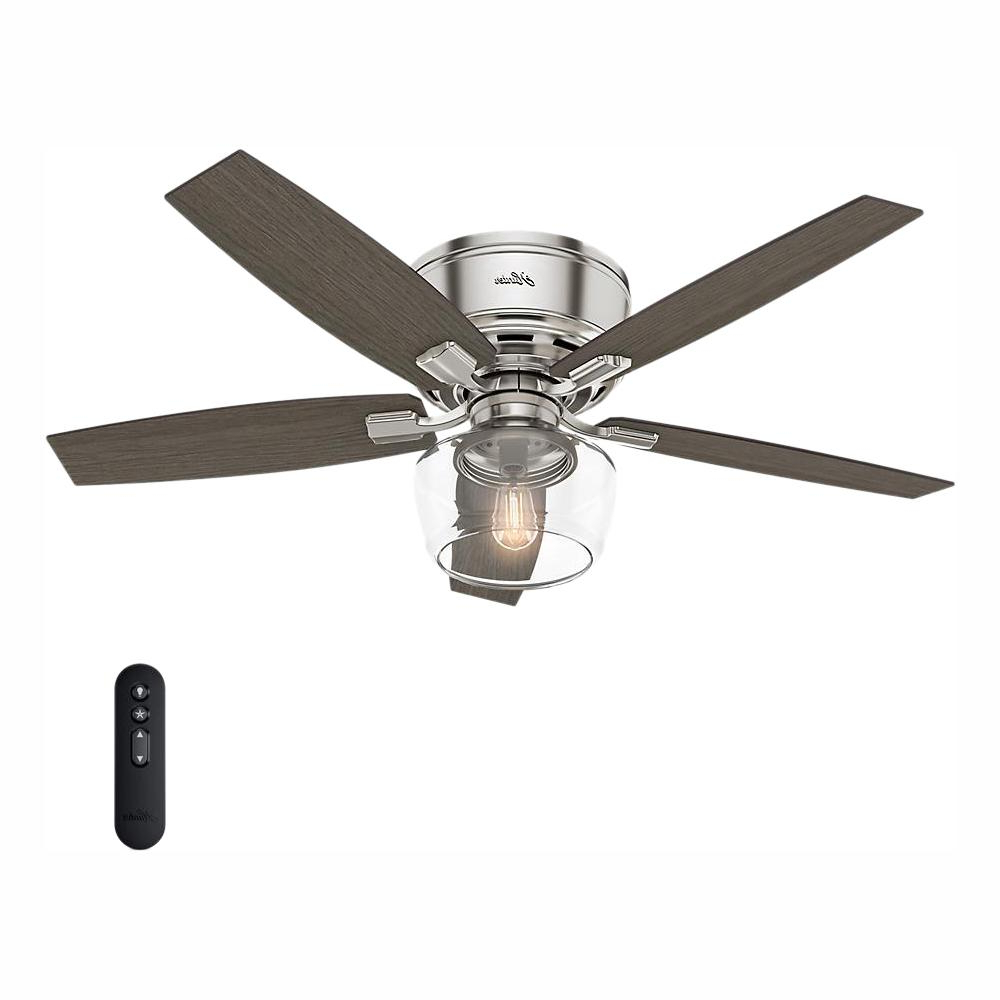 Hunter Bennett 52 In. Led Low Profile Brushed Nickel Indoor Ceiling Fan  With Light And Remote Within Current Norah 5 Blade Ceiling Fans (Gallery 12 of 20)