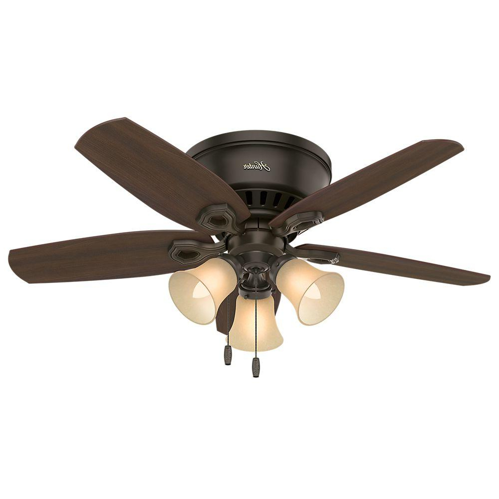 Hunter Builder Low Profile 42 In. Indoor New Bronze Ceiling Fan Intended For Most Up To Date Low Profile Iv 5 Blade Ceiling Fans (Gallery 6 of 20)