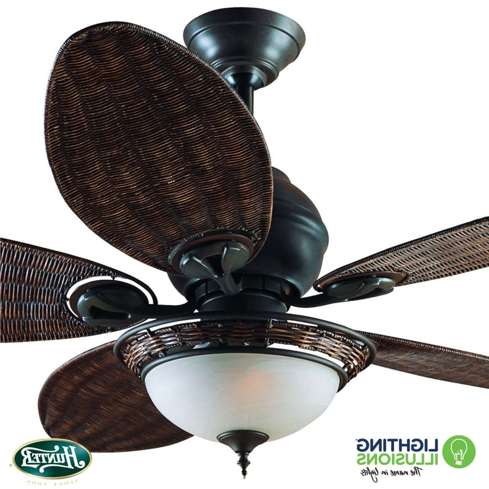 """Hunter Caribbean Breeze 54"""" Ceiling Fan With Light For 2020 Caribbean Breeze 5 Blade Ceiling Fans (Gallery 6 of 20)"""