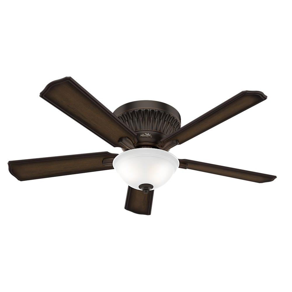 Hunter Chauncey 54 In. Indoor Onyx Bengal Low Profile Ceiling Fan With  Light Kit And Remote Pertaining To Most Recent Mill Valley 5 Blade Ceiling Fans (Gallery 10 of 20)