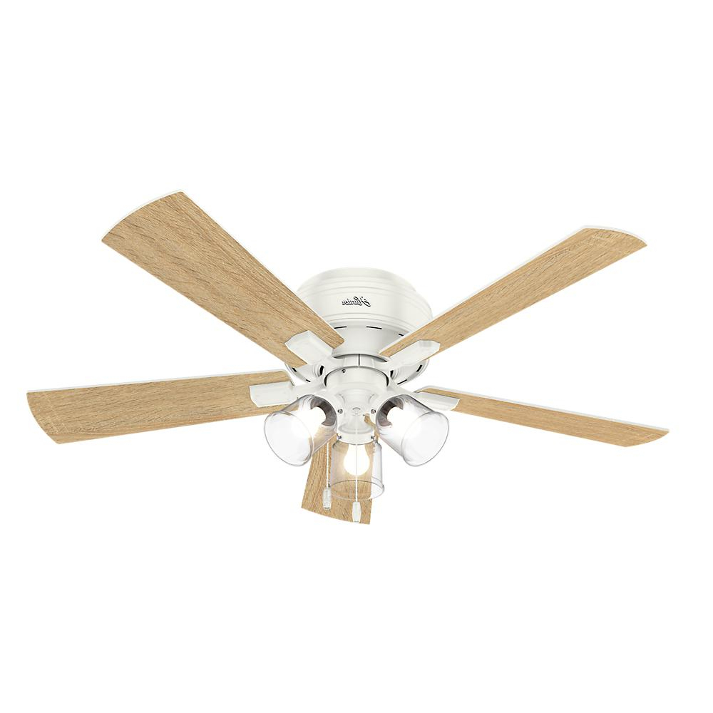 Hunter Crestfield 52 In. Led Indoor Low Profile Fresh White In Current Crestfield 5 Blade Led Ceiling Fans (Gallery 4 of 20)