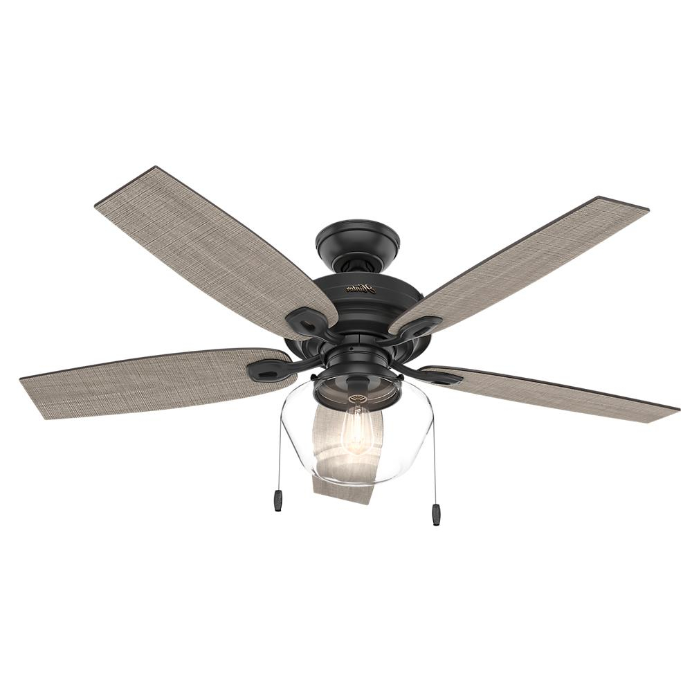 Hunter Crown Canyon 52 In. Led Indoor/outdoor Matte Black Ceiling Fan With  Light Kit Regarding Well Known Sheyla 5 Blade Led Ceiling Fans (Gallery 7 of 20)