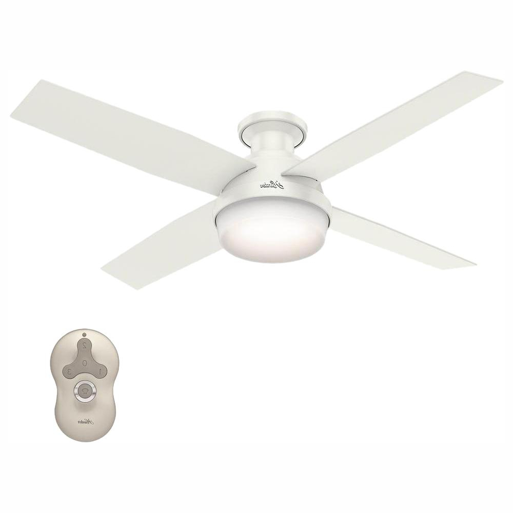 Hunter Dempsey 52 In. Low Profile Led Indoor Fresh White Ceiling Fan With  Universal Remote With Best And Newest Dempsey Low Profile 4 Blade Ceiling Fans With Remote (Gallery 3 of 20)