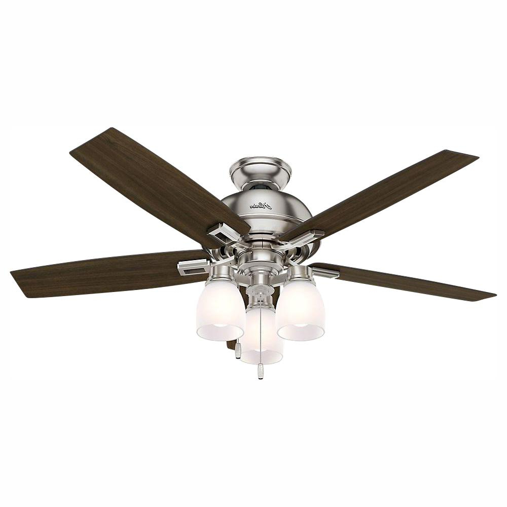 Hunter Donegan 52 In. Led Indoor Brushed Nickel Ceiling Fan With 3 Light With Most Popular Donegan 5 Blade Led Ceiling Fans (Gallery 3 of 20)