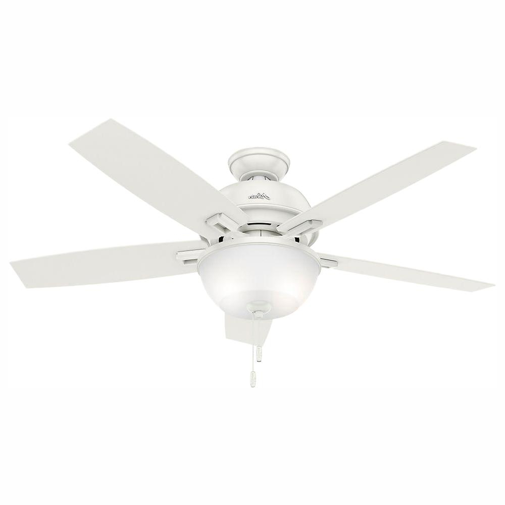 Hunter Donegan 52 In. Led Indoor Fresh White Ceiling Fan With Light Kit Within Popular Donegan 5 Blade Led Ceiling Fans (Gallery 6 of 20)