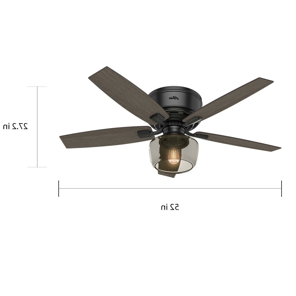 "Hunter Fan 52"" Bennett Matte Black W / 5 Gry Wlnt / Brnt Wlnt Rev Blds Regarding Newest Bennett 5 Blade Led Ceiling Fans With Remote (View 10 of 20)"