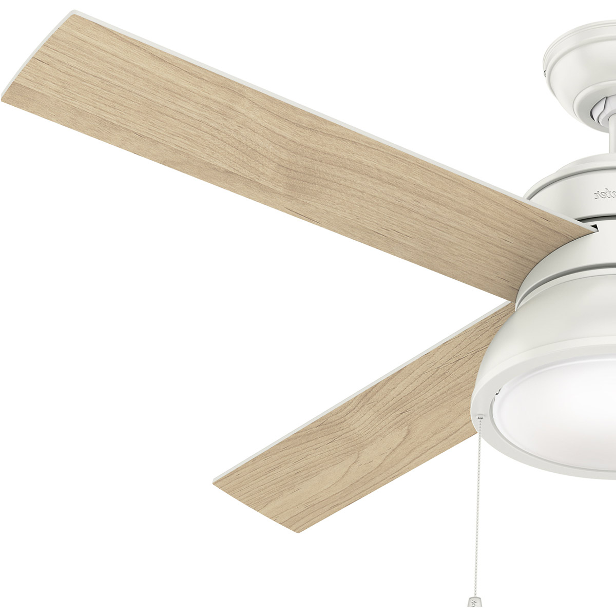Hunter Fan 54151 Loki 52 Inch Fresh White With Fresh White/natural Wood  Blades Ceiling Fan For Fashionable Loki 4 Blade Led Ceiling Fans (Gallery 17 of 20)