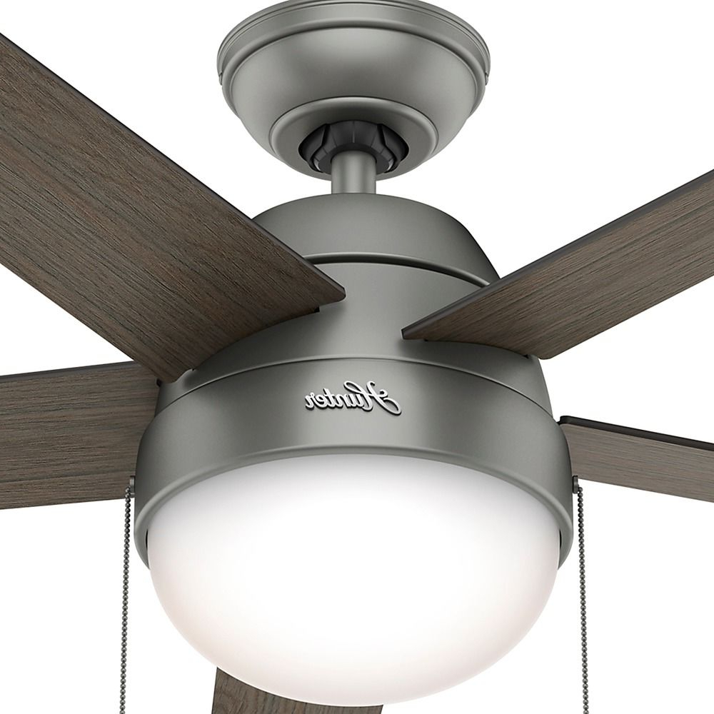 Hunter Fan Company Anslee Matte Silver Ceiling Fan With Light At  Destination Lighting Regarding Most Current Anslee 5 Blade Ceiling Fans (Gallery 11 of 20)