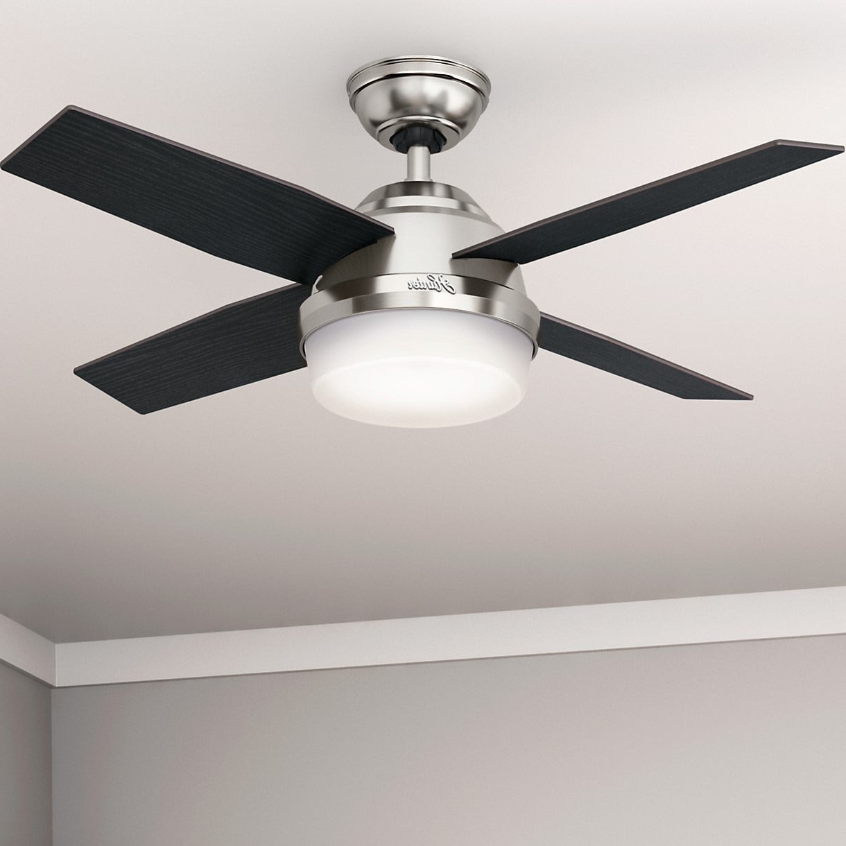 Hunter Fan Dempsey Collection Brushed Nickel 44 Inch Ceiling Fan With 4  Reversible Black Oak/chocolate Oak Blades – Silver Regarding Well Known Dempsey 4 Blade Ceiling Fans (View 12 of 20)