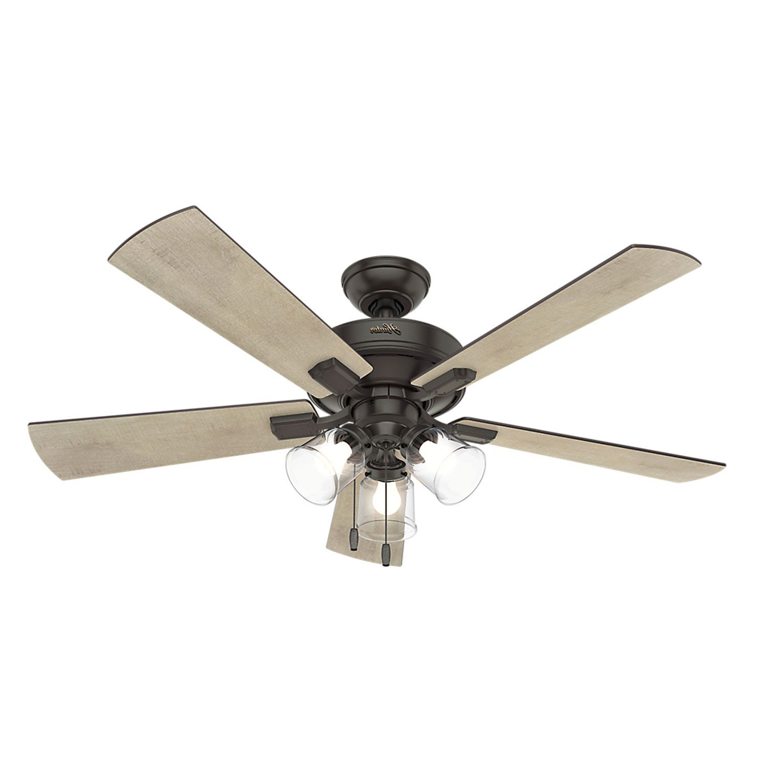 Hunter Fans Crestfield Noble Bronze 52 Inch Three Light Led For Preferred Sheyla 5 Blade Led Ceiling Fans (View 13 of 20)