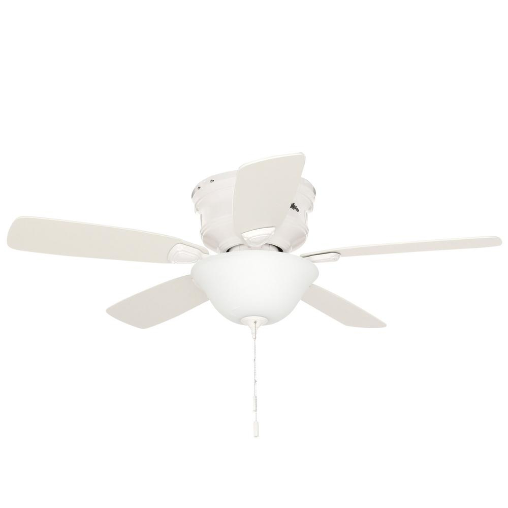 Hunter Low Profile 48 In. Indoor White Ceiling Fan With Light Kit Bundled  With Handheld Remote Control In Famous Hatherton 5 Blade Ceiling Fans (Gallery 16 of 20)