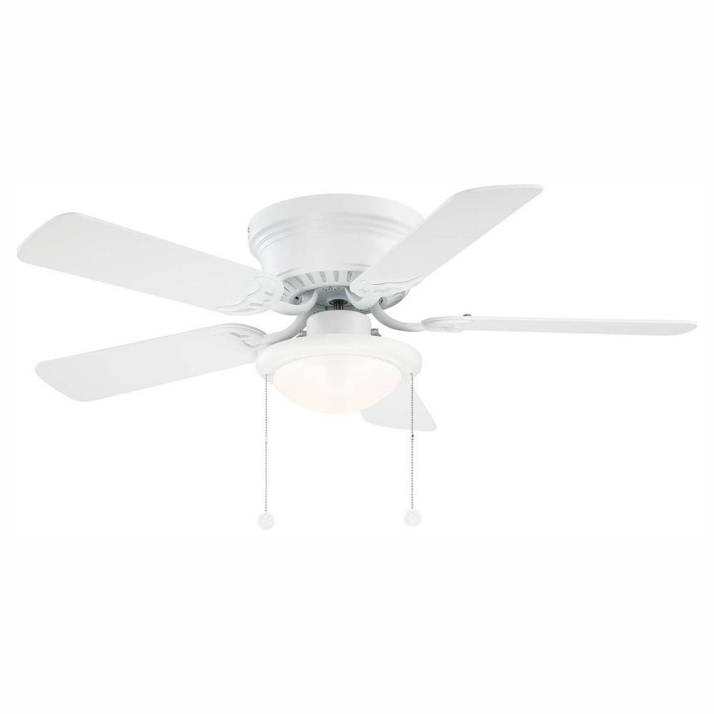 """Hunter Low Profile 5 Blade Ceiling Fans Inside Most Popular Details About Ceiling Fan With Light Kit Led 5 Reversible Blades Low  Profile Matte White 44"""" (Gallery 19 of 20)"""