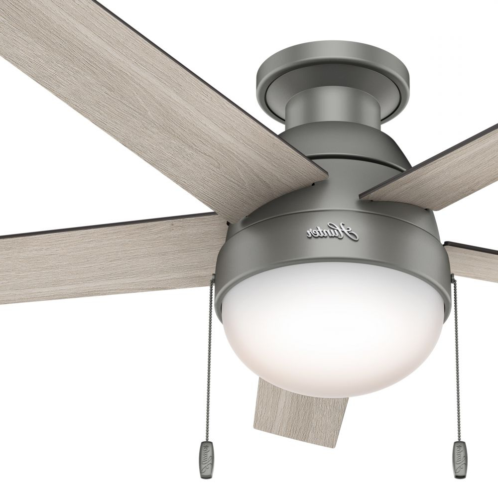 Hunter Low Profile 5 Blade Ceiling Fans Intended For Favorite Hunter Fan 46 Inch Low Profile Matte Silver Indoor Ceiling Fan With Light  Kit And Remote Control (Certified Refurbished) (Gallery 14 of 20)
