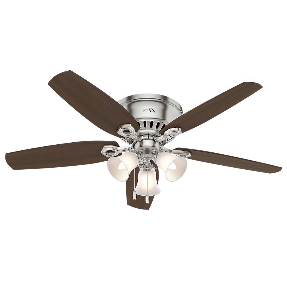 Hunter Low Profile 5 Blade Ceiling Fans Pertaining To Best And Newest Hunter Builder Low Profile 52 In. Indoor Brushed Nickel Ceiling Fan Bundled  With Light And Handheld Remote Control (Gallery 2 of 20)