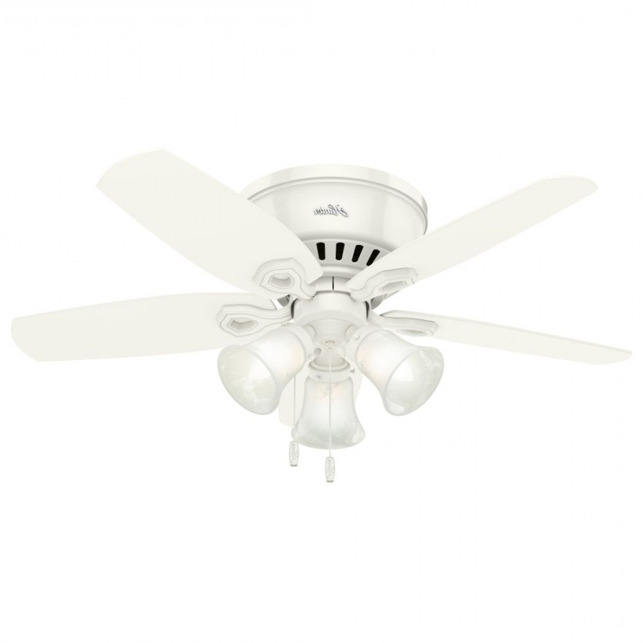 Hunter Low Profile 5 Blade Ceiling Fans With Regard To Popular Hunter 51090 Builder Low Profile 42 Inch 3 Light Ceiling Fan In Snow White  With 5 Snow White Blade And Swirled Marble Glass (Gallery 13 of 20)