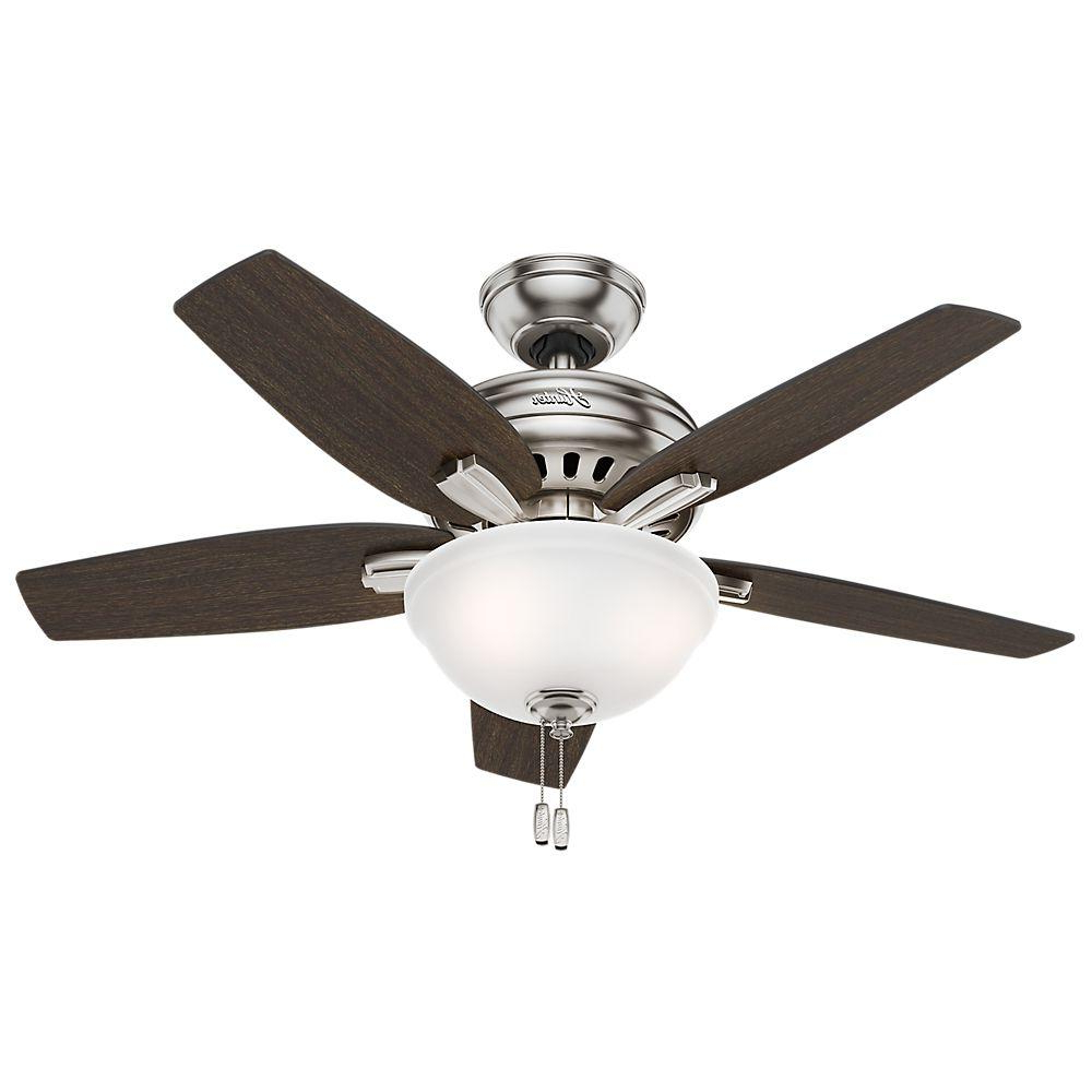 Hunter Newsome 42 In. Indoor Brushed Nickel Ceiling Fan With Light Kit For Well Known Newsome Low Profile 5 Blade Ceiling Fans (Gallery 6 of 20)
