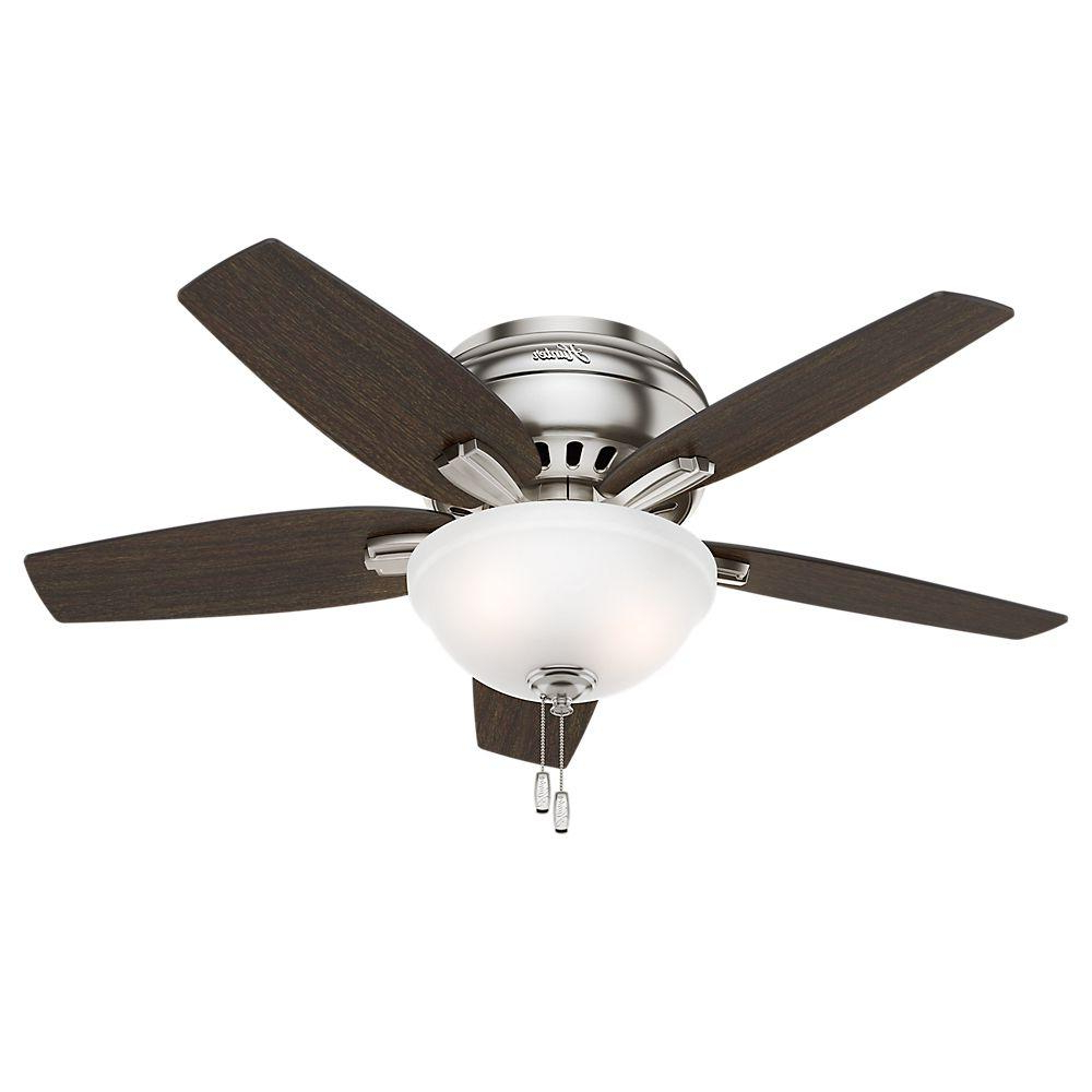 Hunter Newsome 42 In. Indoor Low Profile Brushed Nickel Ceiling Fan With  Light Kit For Favorite Conroy 5 Blade Ceiling Fans (Gallery 7 of 20)