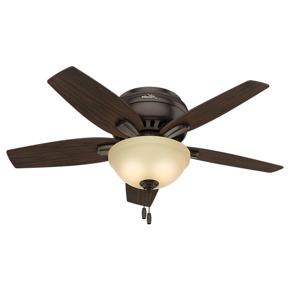 Hunter Newsome 42 In. Indoor Low Profile Premier Bronze Ceiling Fan With  Light Kit In Fashionable Low Profile Iv 5 Blade Ceiling Fans (Gallery 5 of 20)