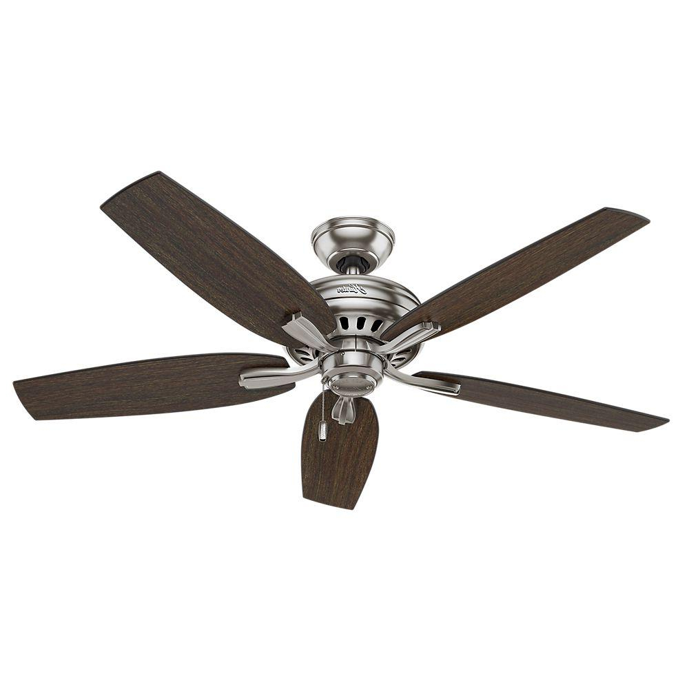 Hunter Newsome 52 In. Indoor Brushed Nickel Ceiling Fan Bundled With  Handheld Remote Control For 2020 5 Blade Ceiling Fans With Remote (Gallery 18 of 20)