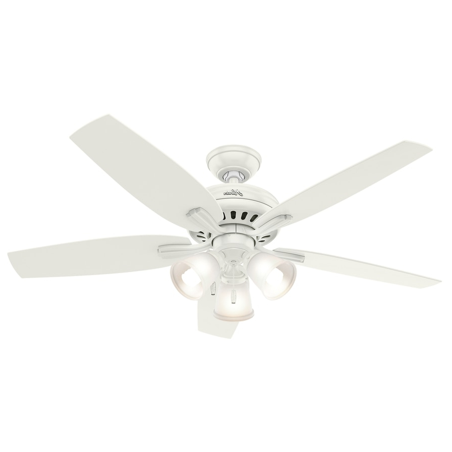 Hunter Newsome 52 In Satin White Indoor Ceiling Fan With Intended For Recent Newsome Low Profile 5 Blade Ceiling Fans (Gallery 19 of 20)