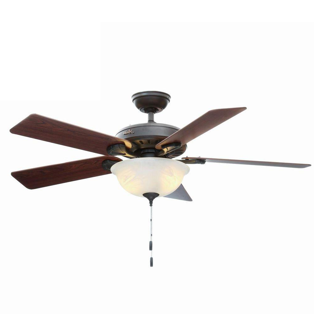 Hunter Pro's Best Five Minute 52 In. Indoor New Bronze Ceiling Fan With  Light Kit Pertaining To Current The Kensington 5 Blade Ceiling Fans (Gallery 18 of 20)