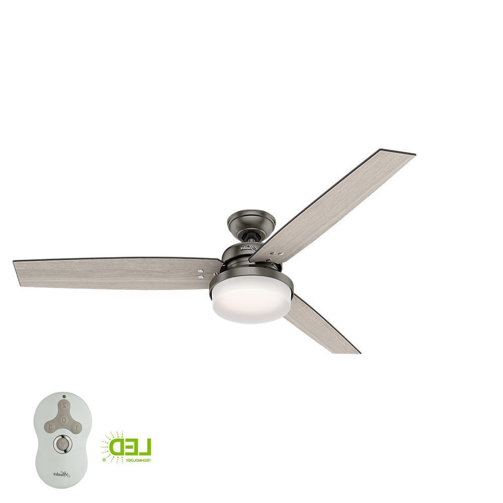 Hunter Sentinel 60 In. Led Indoor Brushed Slate Ceiling Fan With Integrated  Light Kit And Handheld Remote Control Inside Famous Windemere 5 Blade Ceiling Fans With Remote (Gallery 11 of 20)