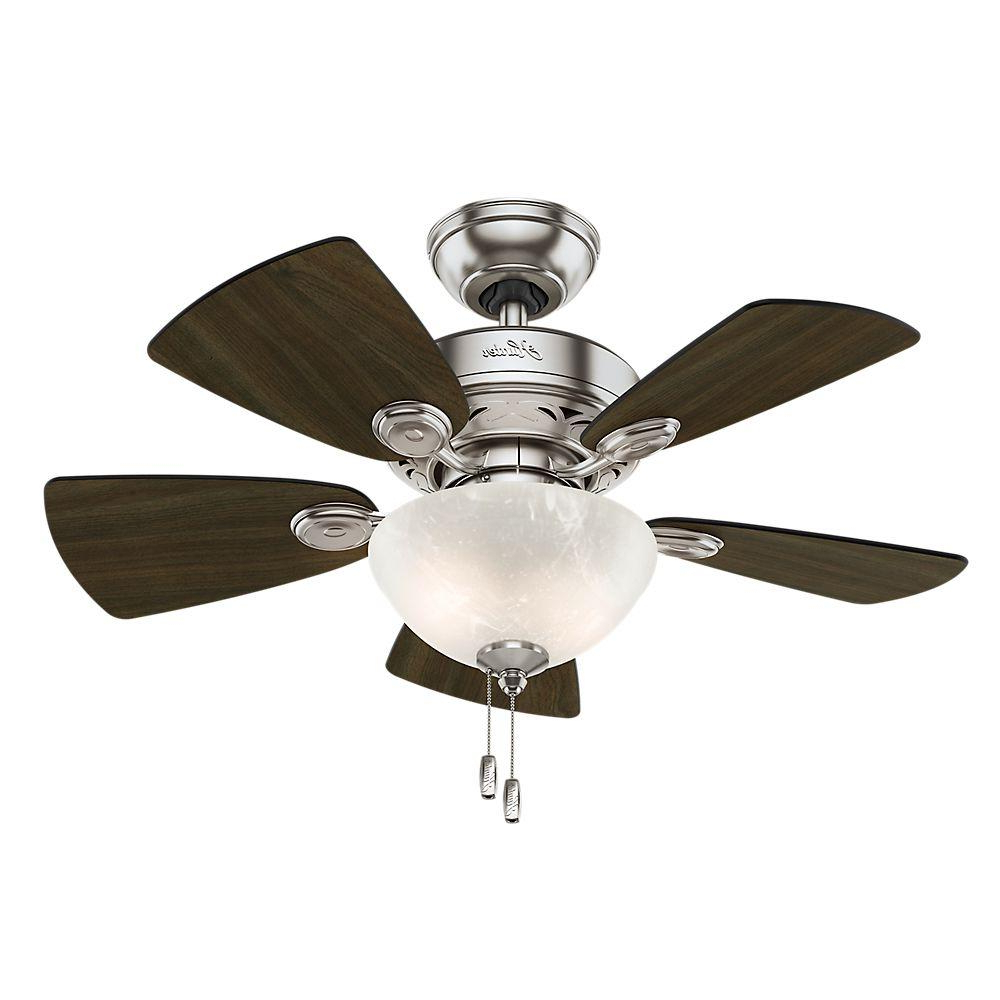 Hunter Watson 34 In. Indoor Brushed Nickel Ceiling Fan With In Well Known Watson 5 Blade Ceiling Fans (Gallery 1 of 20)