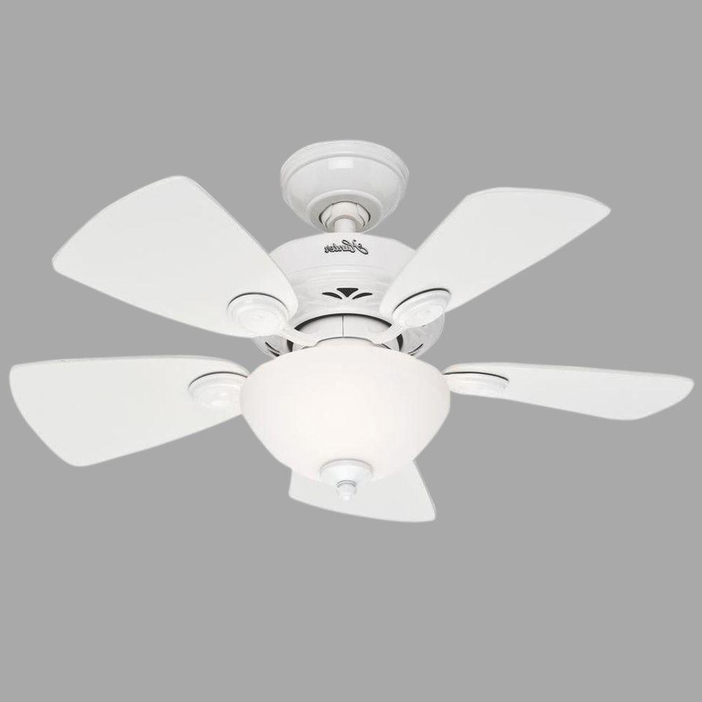 Hunter Watson 34 In. Indoor White Ceiling Fan With Light Kit With Regard To Widely Used Watson 5 Blade Ceiling Fans (Gallery 5 of 20)