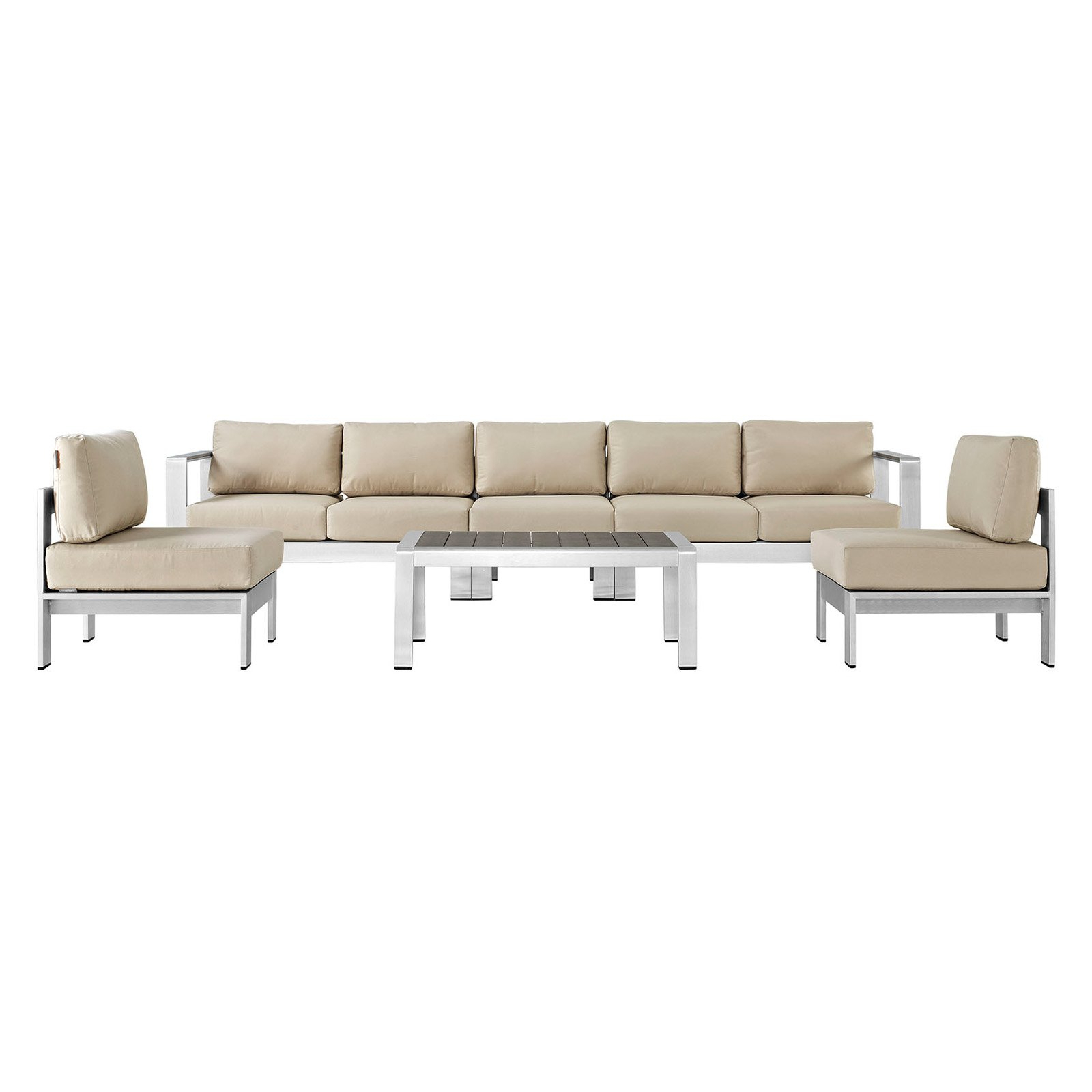 Hursey Patio Sectionals Regarding Most Up To Date Outdoor Modway Shore Aluminum 6 Piece Patio Sectional Sofa (View 13 of 20)