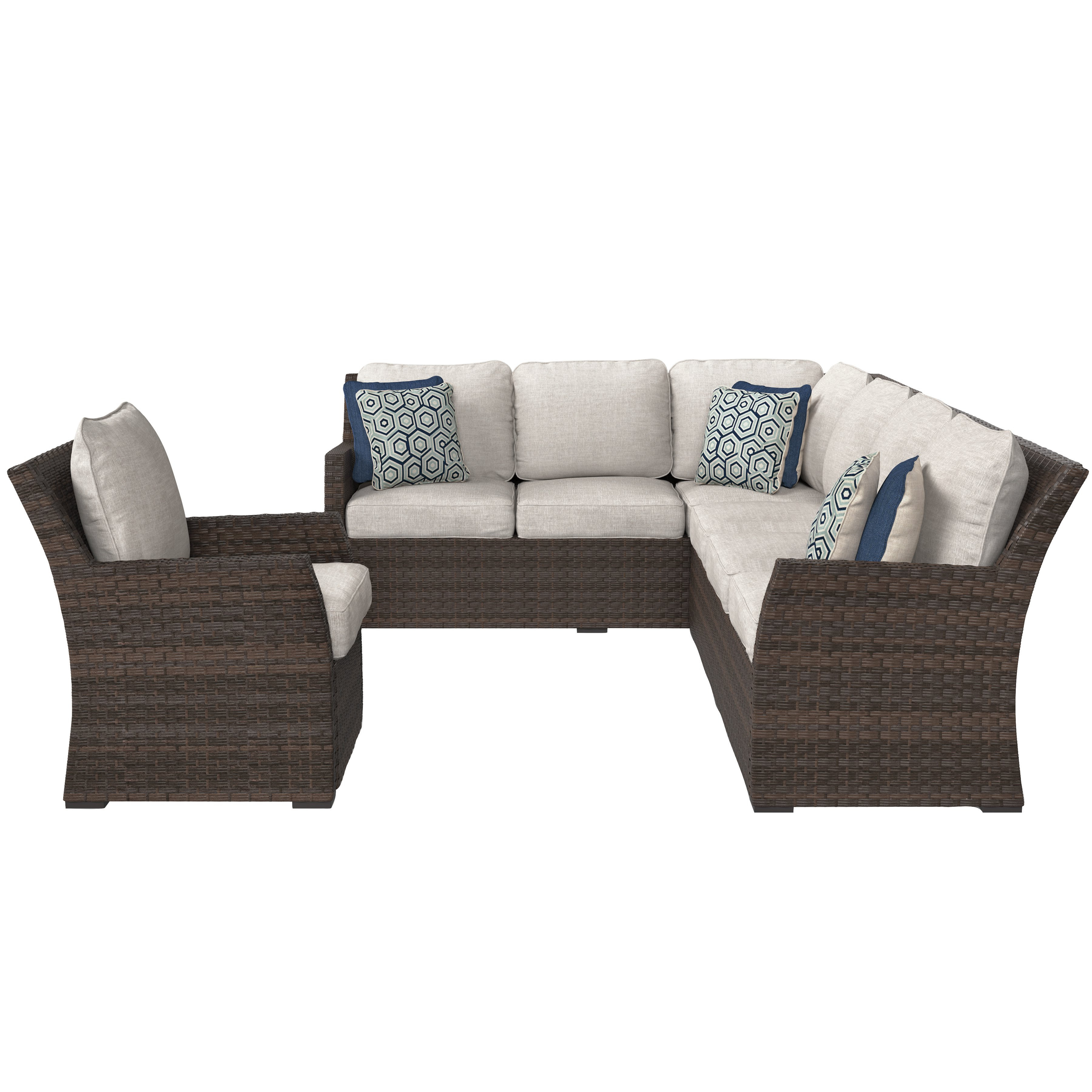 Hursey Patio Sofas In Well Known Adele Patio Sectional With Cushions (View 9 of 20)