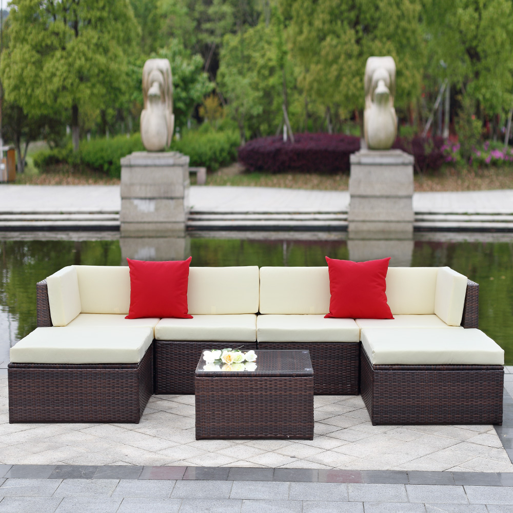 Ikayaa 6Pcs/7Pcs Cushioned Rattan Outdoor Patio Furniture Set Garden Wicker  Sectional Corner Sofa Couch Table Set With Most Recently Released Tess Corner Living Patio Sectionals With Cushions (View 6 of 20)