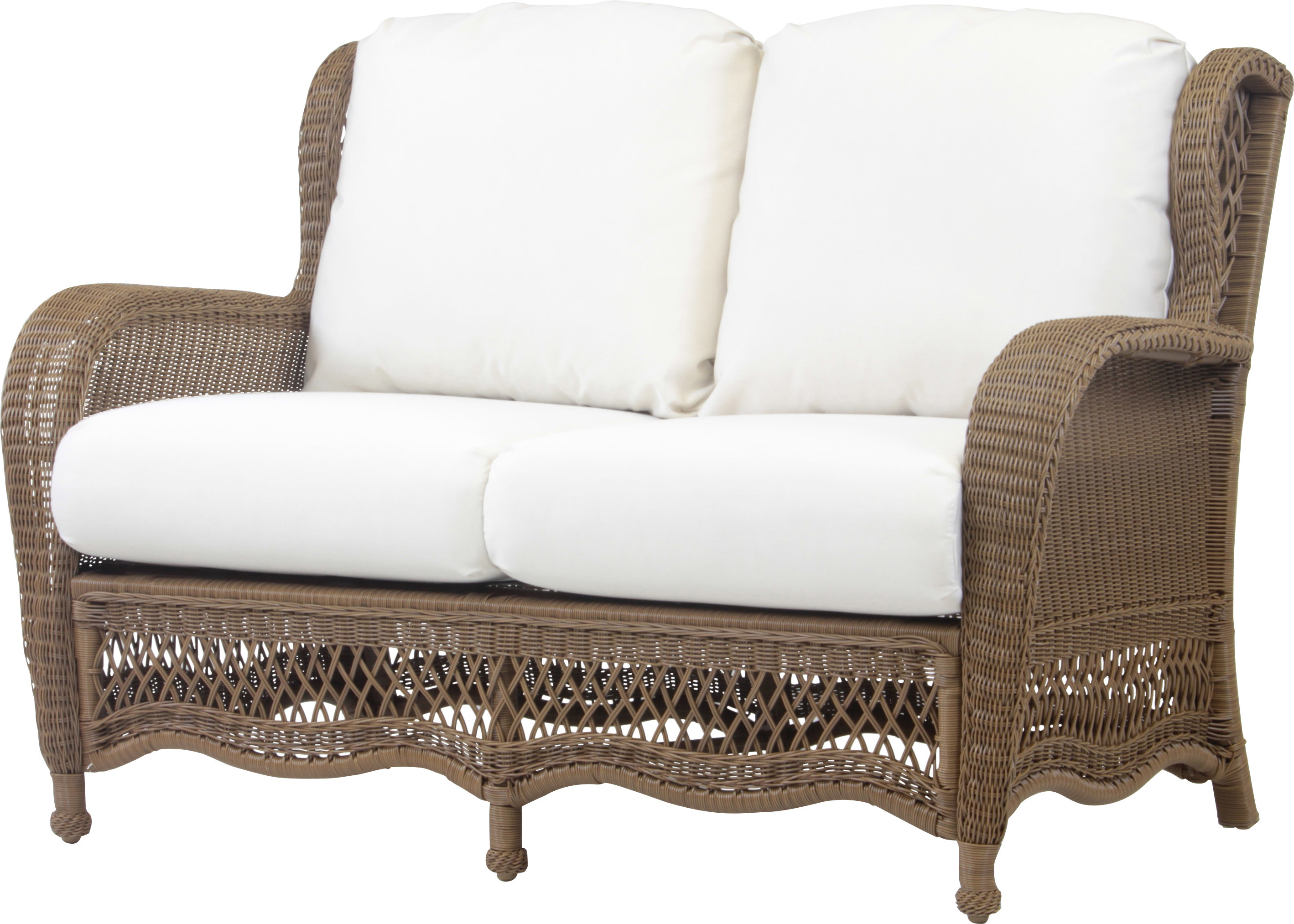 Karan Wicker Patio Loveseats In Fashionable Stoneburner Loveseat With Cushion (View 20 of 20)