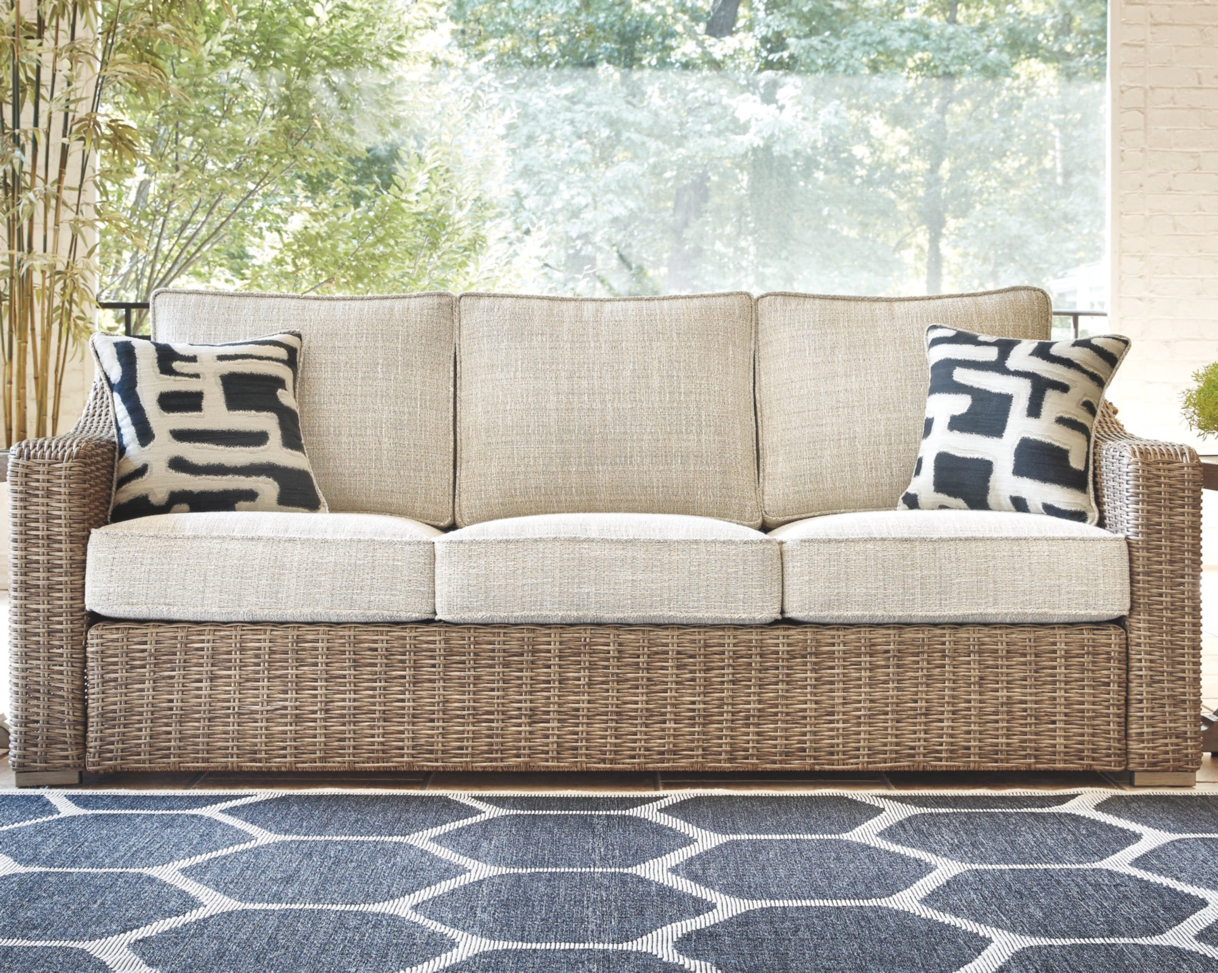 Keever Patio Sofas With Sunbrella Cushions Pertaining To Well Liked Farmersville Patio Sofa With Cushions (View 10 of 20)
