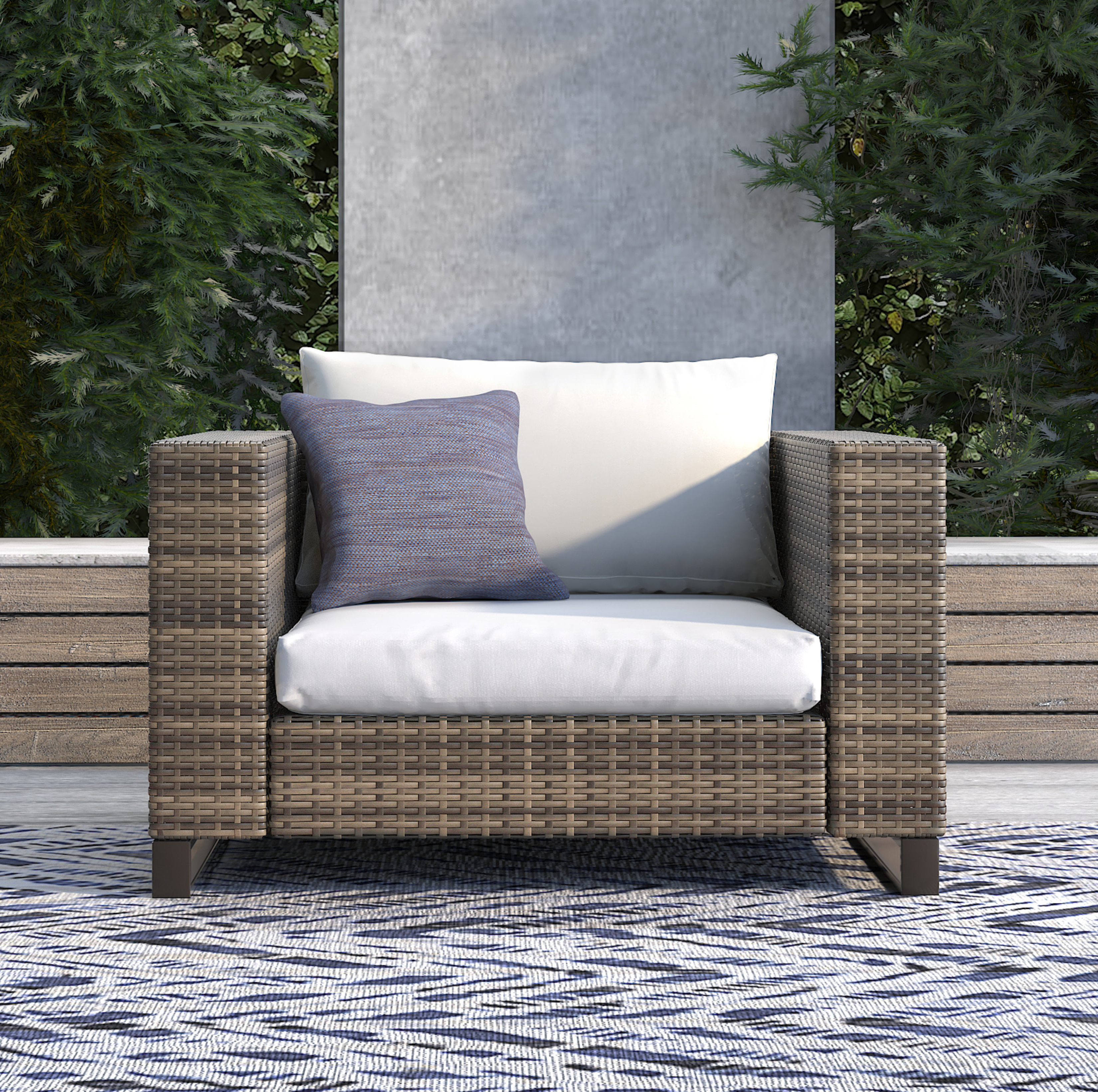 Keever Patio Sofas With Sunbrella Cushions Throughout Preferred Oceanside Outdoor Wicker Patio Chair With Cushions (View 11 of 20)