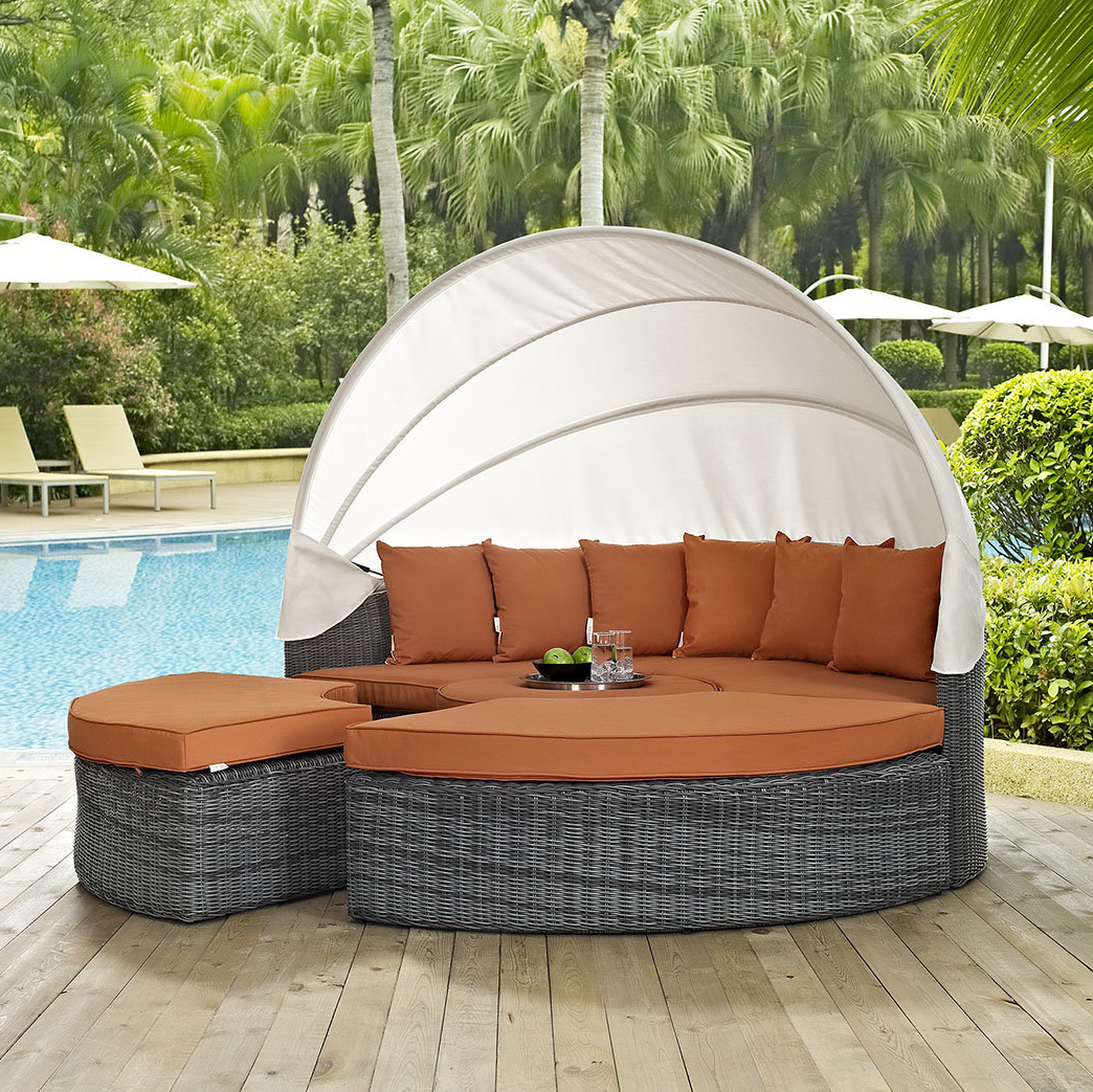 Keiran Daybed With Cushions Pertaining To Trendy Lammers Outdoor Wicker Daybeds With Cushions (View 4 of 20)