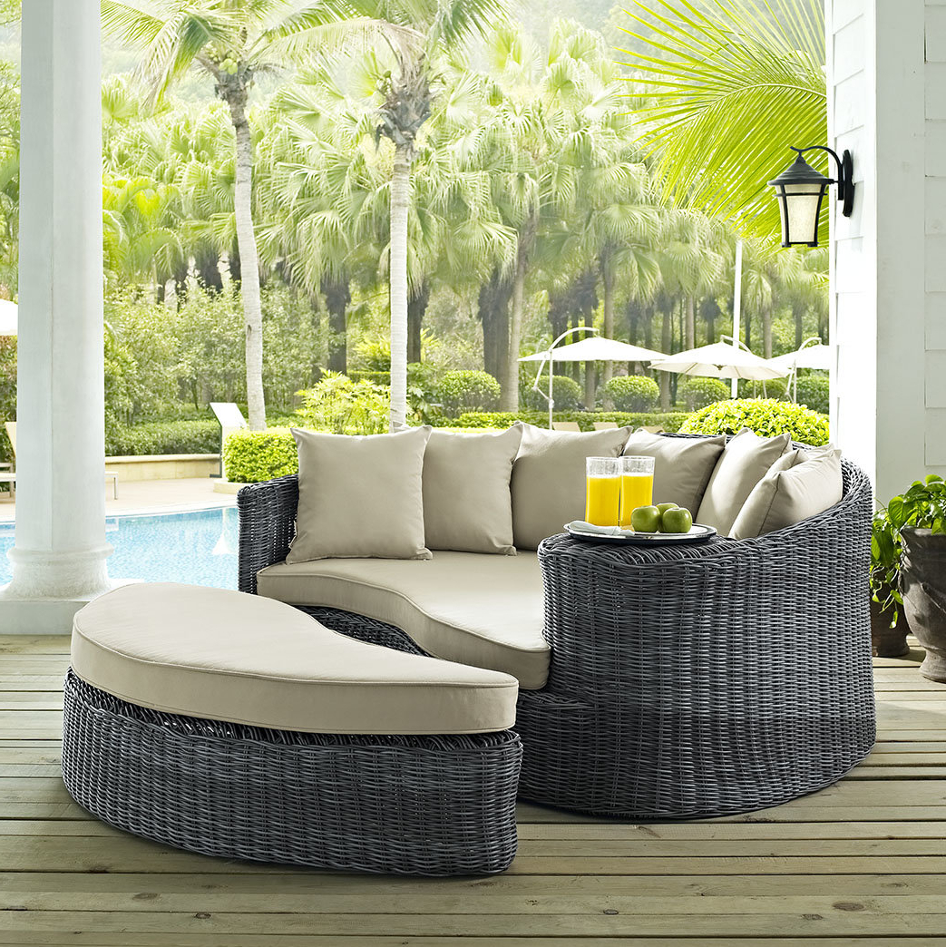 Keiran Patio Daybed With Cushions Within Trendy Lammers Outdoor Wicker Daybeds With Cushions (View 5 of 20)