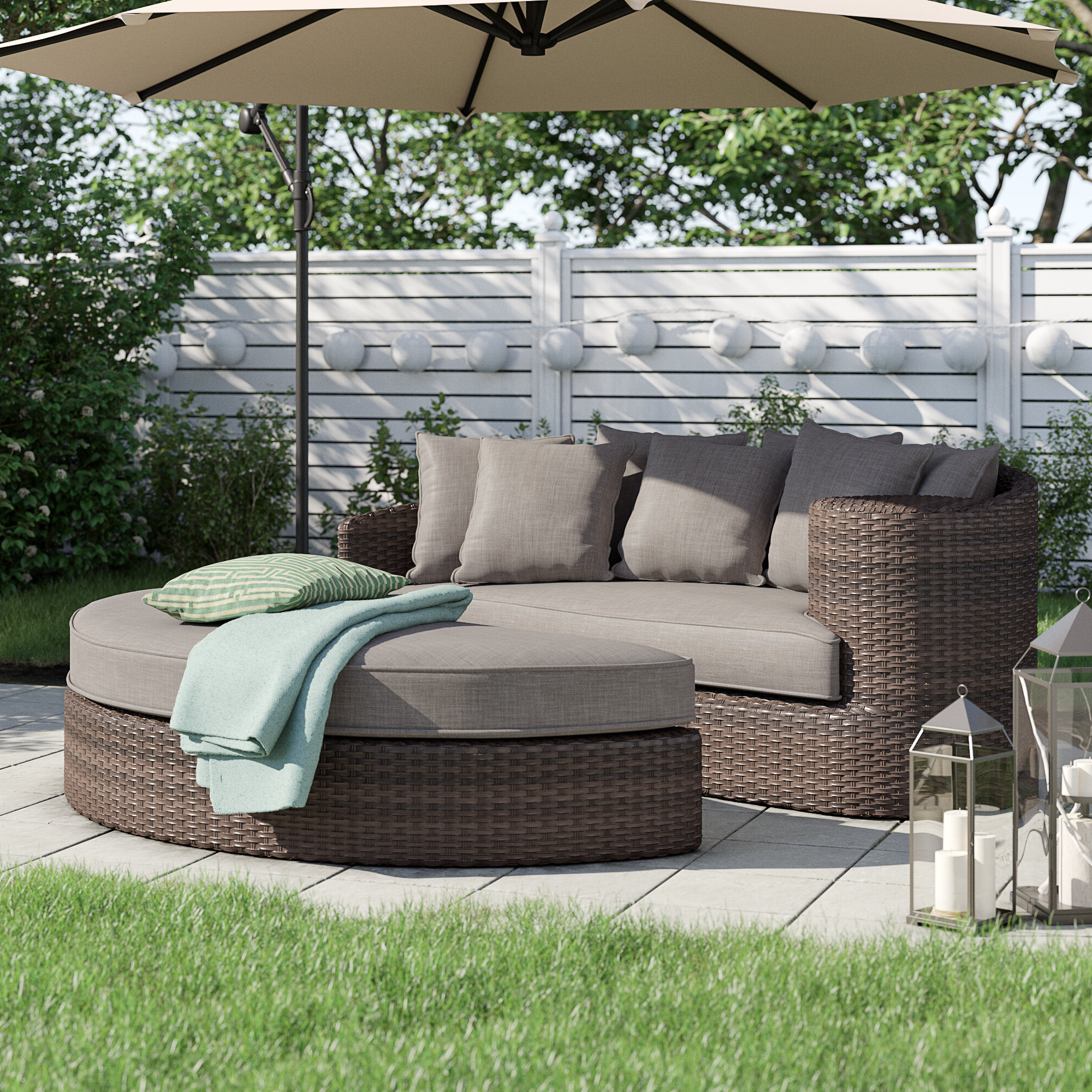 Keiran Patio Daybeds With Cushions Intended For Newest Whyte Contemporary Patio Daybed With Cushions (View 8 of 20)