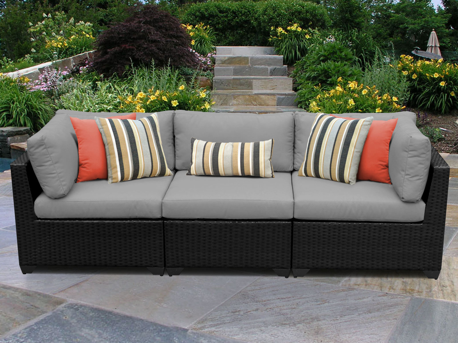 Keiran Patio Sofas With Cushions Intended For Fashionable Camak Patio Sofa With Cushions (View 9 of 20)