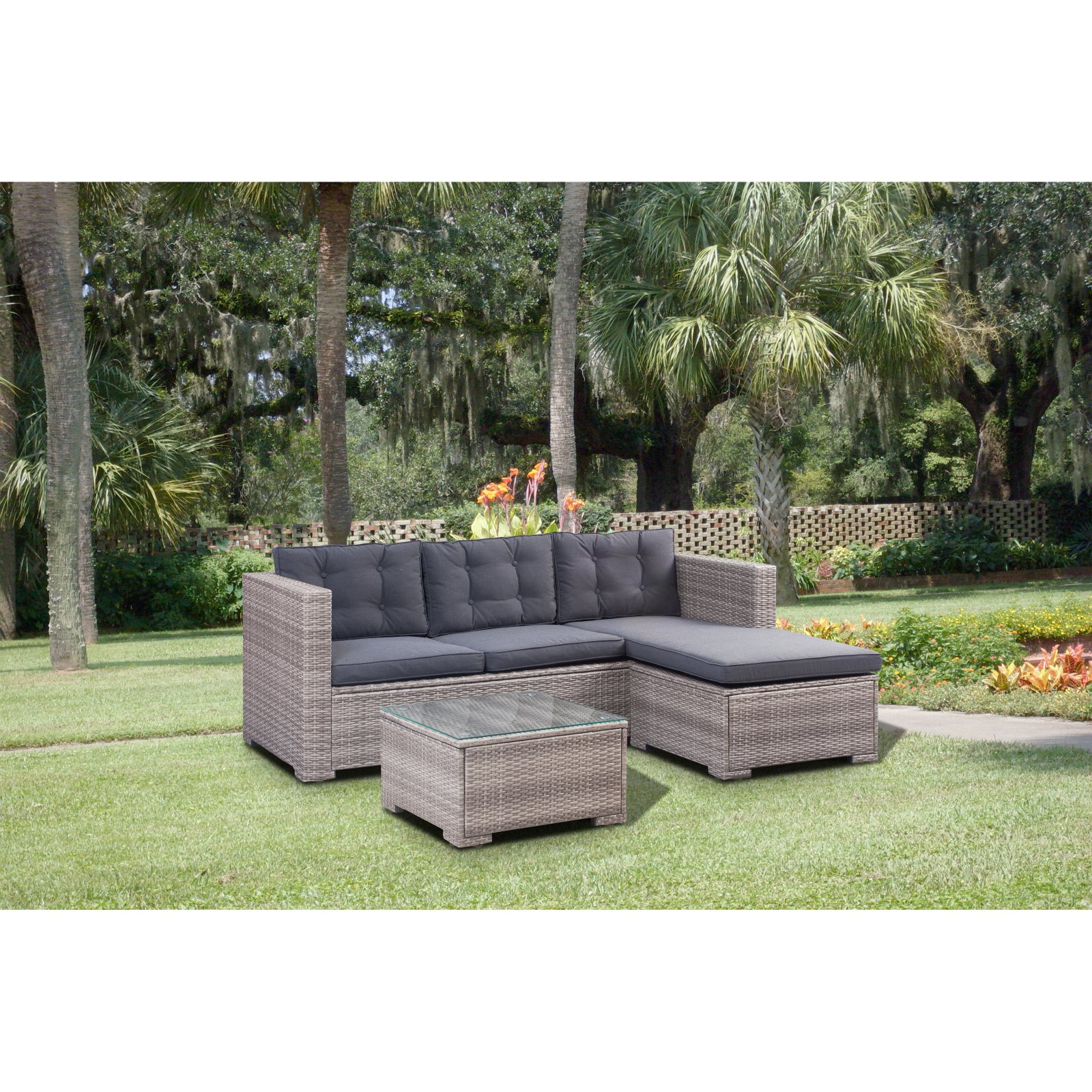 Keiran Patio Sofas With Cushions With Regard To 2019 Outdoor Boraam Vanessa Poly Rattan 3 Piece Patio Sofa (View 11 of 20)