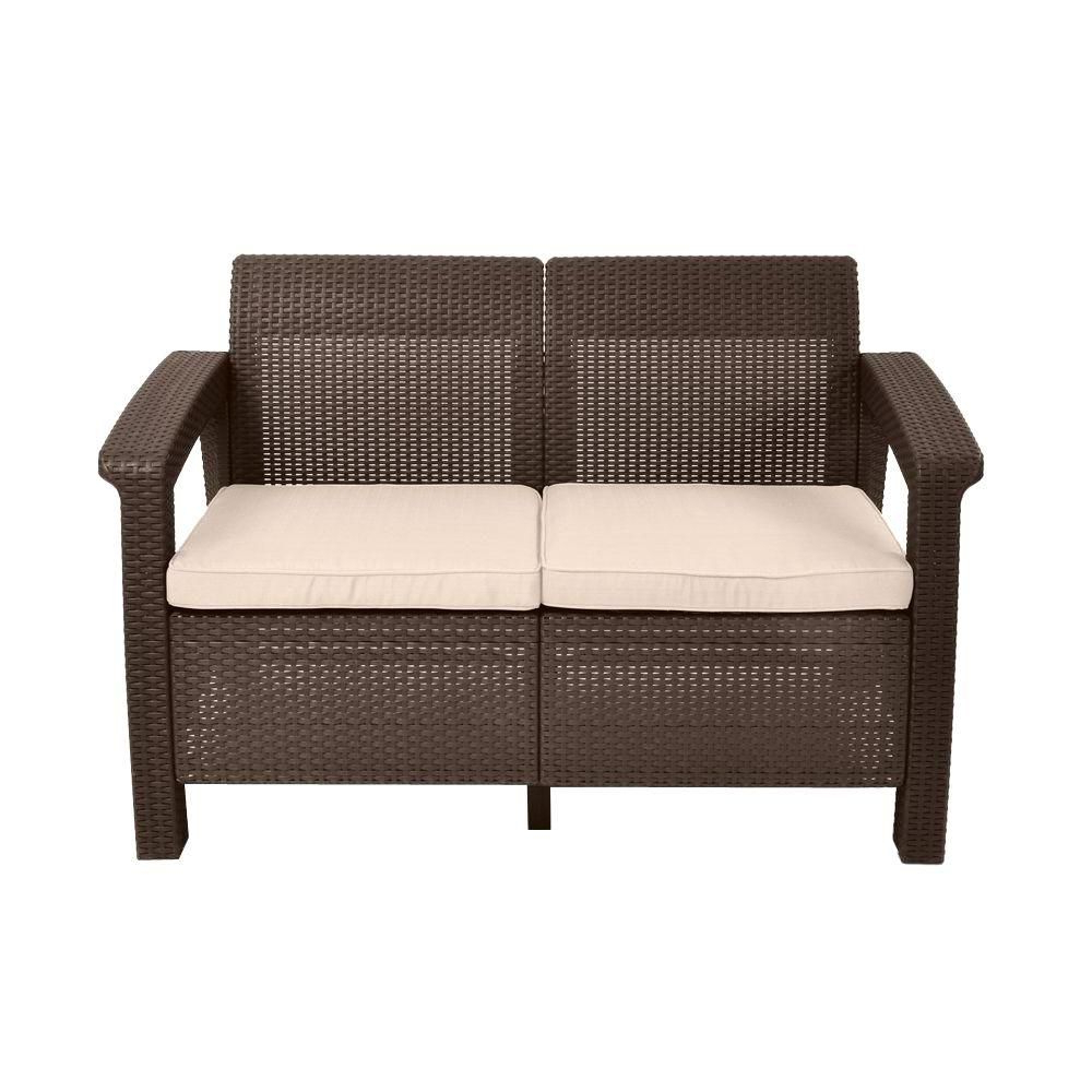 Keter Corfu Brown All Weather Patio Loveseat With Tan Throughout Well Known Clifford Loveseats With Cushion (View 11 of 20)