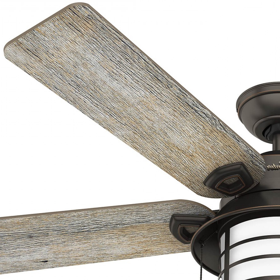 Key Biscayne 5 Blade Outdoor Ceiling Fans Intended For Well Known Hunter 59273 Key Biscayne 2 Light 54 Inch Outdoor Ceiling Fan In Onyx Bengal With 5 Barnwood Blade And Cased White Glass (View 8 of 20)