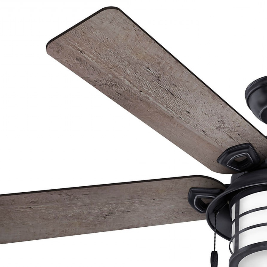 Key Biscayne 5 Blade Outdoor Ceiling Fans Throughout 2020 Hunter 59135 Key Biscayne 2 Light 54 Inch Outdoor Ceiling Fan In Weathered Zinc With 5 Burnished Grey Pine Blade And Cased White Glass (View 18 of 20)
