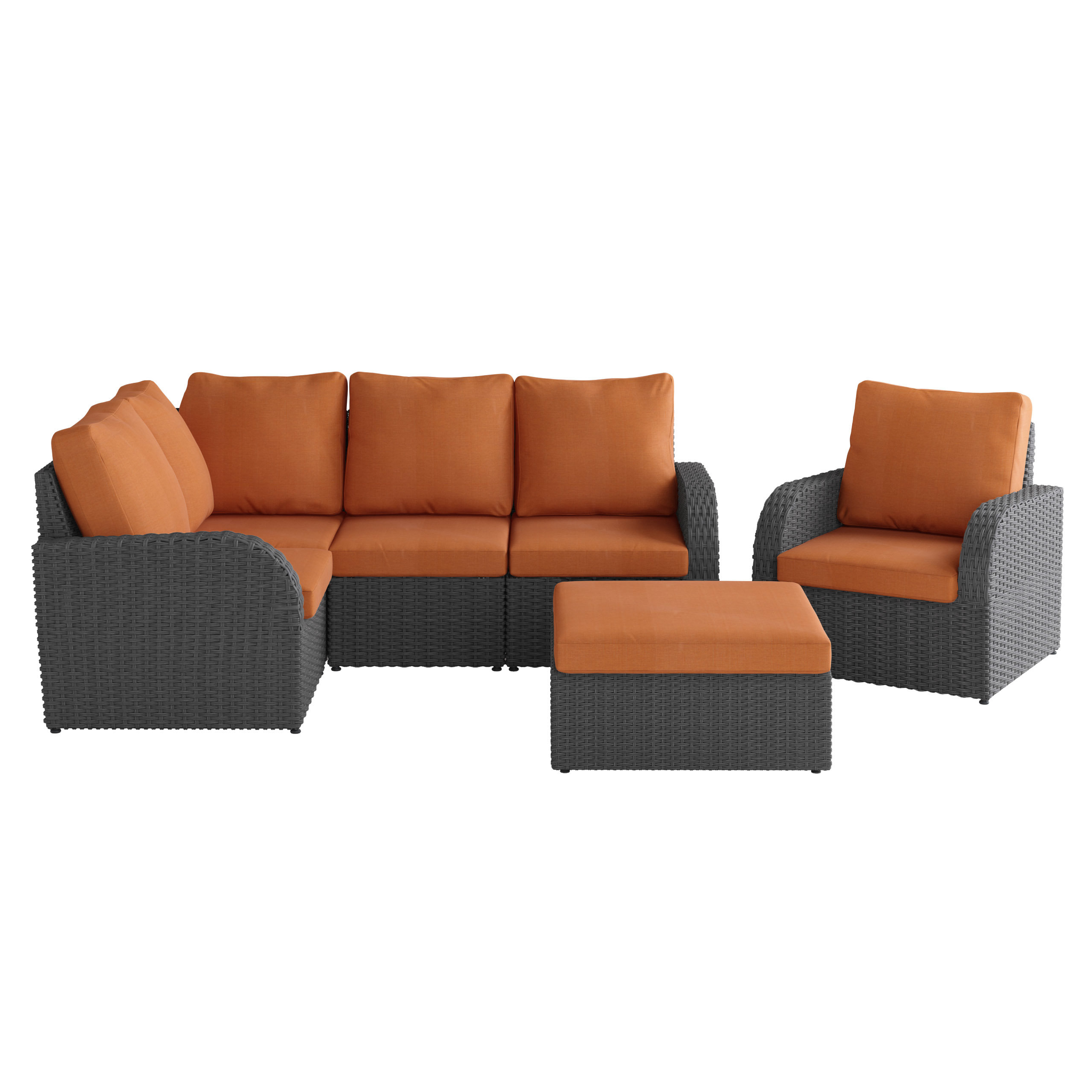 Killingworth Patio Sectional With Cushions Inside Well Known Jamarion 4 Piece Sectionals With Sunbrella Cushions (View 7 of 20)